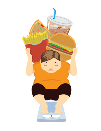 Fat Woman have weight gone up because her like eat junk food health care concept