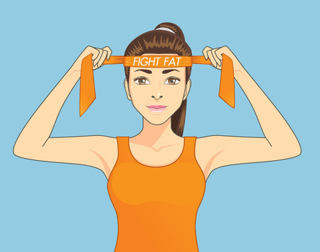 Beautiful women in sportswear is strive to exercise for fighting fat. Healthy concept cartoon