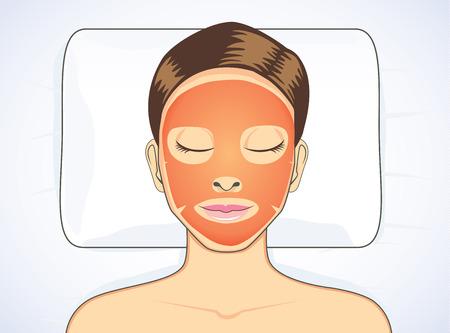 Foto de Facial tomato mask while sleeping for beauty face skin treatment of women - Imagen libre de derechos