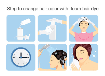 Step to change hair color with foam hair dye.