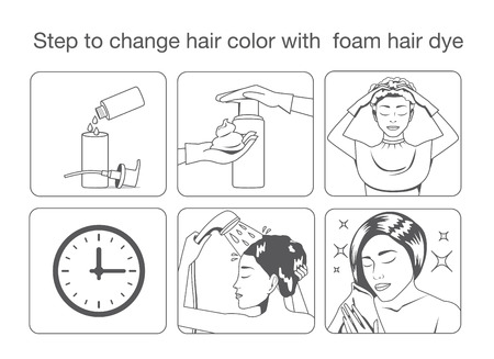 Step to change hair color with foam hair dye with monotone color design