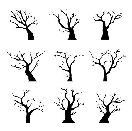 Silhouette dead tree without leaves set