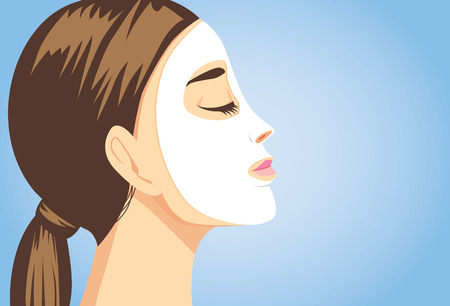 Illustration for Woman applying a facial sheet mask for treatment her face. Close up shot, side view. - Royalty Free Image