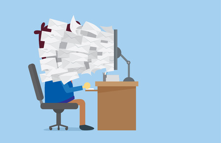 Many E-mail out of computer screen to worker face which he needed to read. This Illustration about unfinished job, order, online sale or other