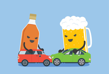 Alcohol and beer push a 2 car to make accident. This illustration meaning to drunk to driving which cause of car accident.
