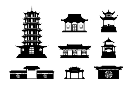 Illustration for Silhouette Chinese architecture shape set on isolated - Royalty Free Image