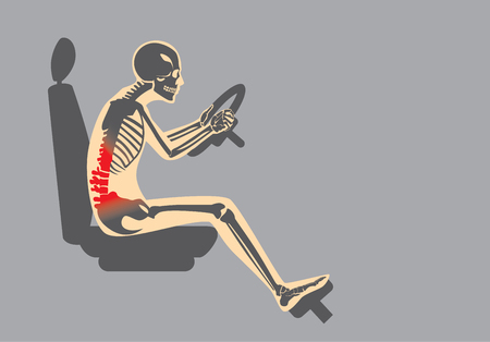 Illustration pour Wrong sitting position in driving make pain in back of driver. This illustration about Health care and lifestyle. - image libre de droit