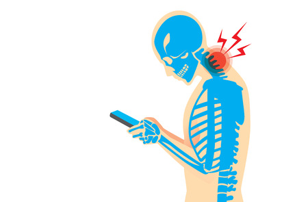 Illustration pour Neck bone and muscles have pain because smartphone addiction and play long time. - image libre de droit