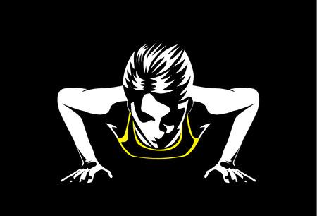 Ilustración de Sport woman doing push ups for muscular build at arm and shoulder. This illustration about sport and healthy - Imagen libre de derechos