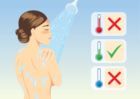 Illustration for Woman determine temperature of lukewarm water for reduce fever with bathing. Medical illustration. - Royalty Free Image