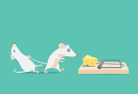 Illustration pour Rat try to stop friend to trapped because cheese. Ideal for illustration about business concept and consulting or other. - image libre de droit