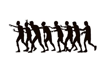 Ilustración de Silhouette zombie group walking on white background. - Imagen libre de derechos