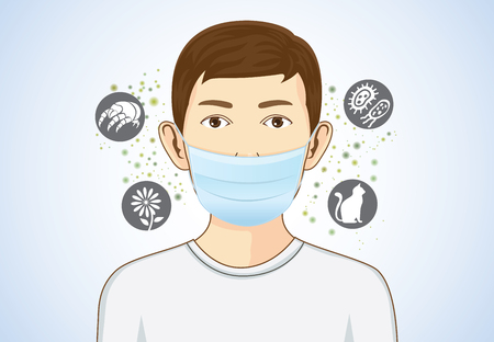 Illustration pour Boy wearing breath mask for protect something that cause allergic reactions include pollen, dust particles and animal, bacteria. - image libre de droit