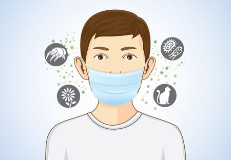 Ilustración de Boy wearing breath mask for protect something that cause allergic reactions include pollen, dust particles and animal, bacteria. - Imagen libre de derechos