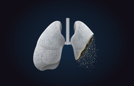 Illustration pour The gray lung transform into ashes. This illustration about effect of smoking and cancer. - image libre de droit