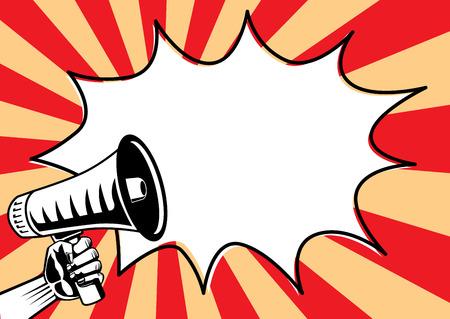 Illustration pour Reaching out a megaphone and speech Bubble on shine background. Illustration in pop art and retro style. - image libre de droit