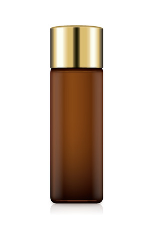 Illustration pour Cosmetic Bottle Amber color with gold cap isolated on white. Ideal for facial toner packaging. - image libre de droit