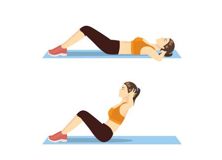 Illustration pour Woman who was fat doing sit up on mat. Illustration about correct exercise posture. - image libre de droit