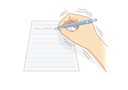 Illustration pour Human hand have tremor symptom while writing - image libre de droit