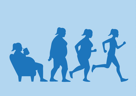 Illustration for Fat woman get out of sofa and change his body to slim shape in 4 step with run. This illustration about exercise concept. - Royalty Free Image