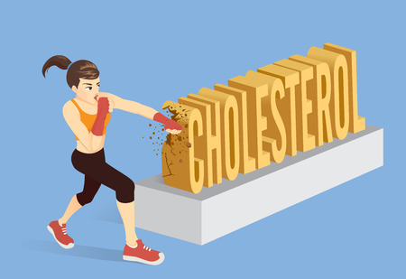 Healthy woman breaking the word Cholesterol with punching. Conceptual illustration about workout for reduce cholesterol.