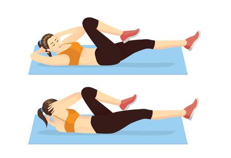 Illustration pour Woman doing abdominal workout with Bicycle crunch. Illustration about exercise guide. - image libre de droit