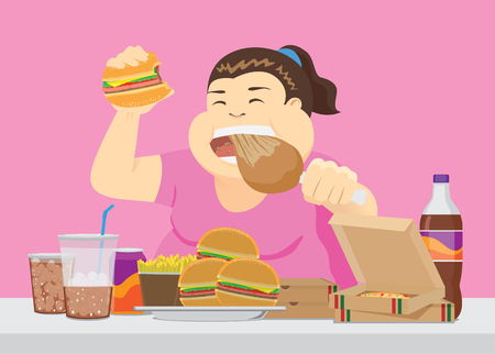 Fat woman enjoy with a lot of fast food on the table. Illustration about overeating.