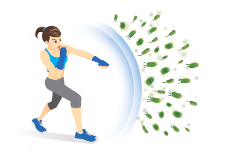 Illustration pour Healthy woman reflect bacteria attack with punching. Concept illustration about boost Immunity with Exercise. - image libre de droit