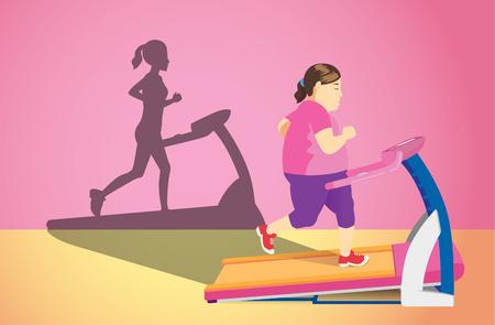 Ilustración de Fat woman jogging on electric treadmill but her shadow was slim. Concept illustration about Lose weight. - Imagen libre de derechos
