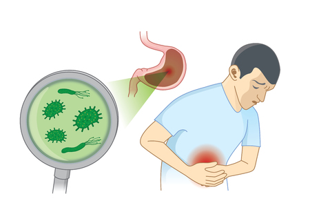 Illustration pour Man Suffering from stomach ache symptom because bacterial. Concept Illustration about hygiene and health. - image libre de droit