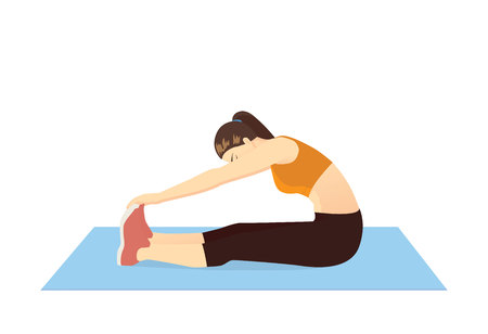 Illustration for Woman doing seated Toe Touch Stretch Exercise on blue mat. Illustration about warm up and cool down and workout. - Royalty Free Image