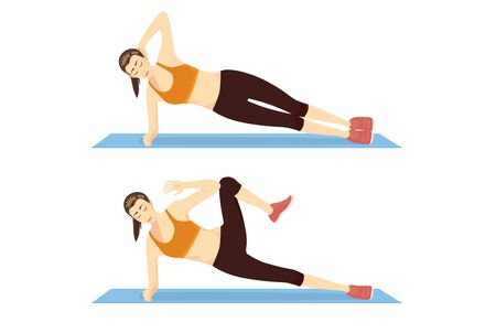 Illustration pour Woman doing Exercise with Side Plank Crunch in 2 Step on blue mat. Illustration about abs workout motivation - image libre de droit