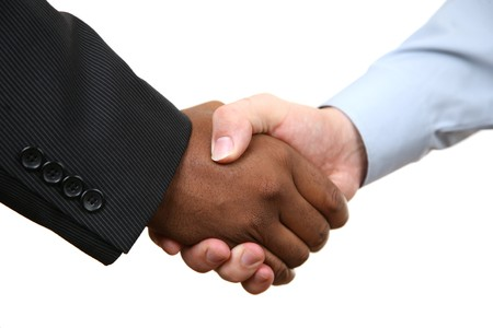 Diverse business male shaking hands. Isolated on white.