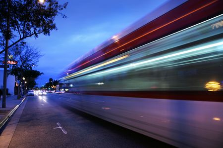 Speeding bus, blurred motion. Santa Monica Blvd., West Hollywood, USA