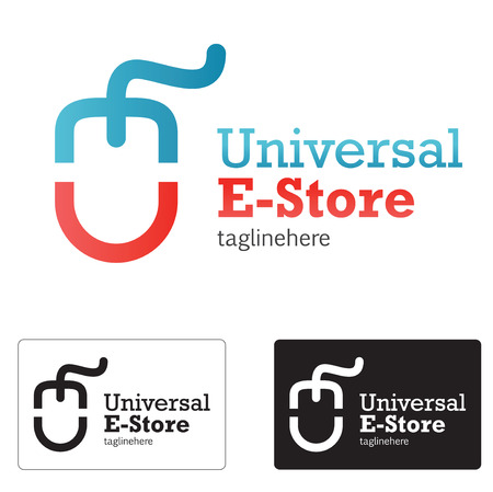 E store icon concept whit abstract e and u letter mouse.