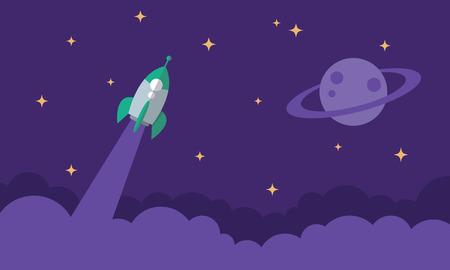 Flying Rocket, Start Up symbol, Space Exploration, Flat illustration