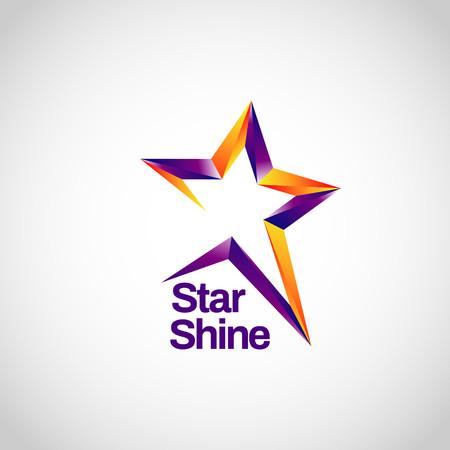 Illustration for Shiny Purple Orange With Star Track Sign Symbol Logo Icon - Royalty Free Image