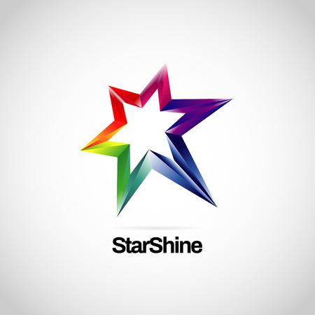 Illustration for Shiny Vibrant Rainbow Star Logo Symbol Icon - Royalty Free Image