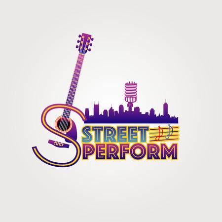Ilustración de Neon Style Street Perform Logo Symbol - Imagen libre de derechos