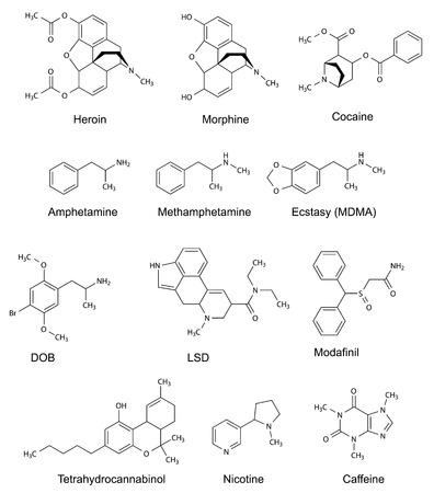 The chemical structural formulas of some drugs  heroin, morphine, cocaine, amphetamine, methamphetamine, ecstasy, dob, lsd, modafinil, tetrahydrocannabinol, nicotine, caffeine , 2d illustration, vector, isolated on white