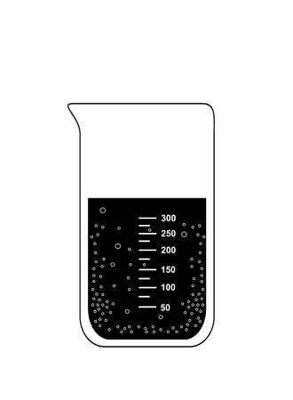 Chemical beaker  laboratory equipment  with carbonated solution, 2d illustration, isolated on white background