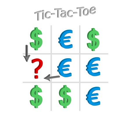 Tic-Tac-Toe concept of the exchange rate of dollar and euro, 3d illustration, vector