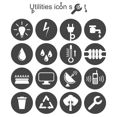 Utilities icon set, 2d illustration on round pad, vector,