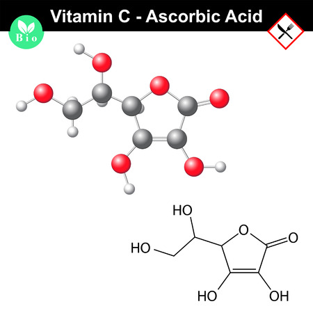 Ascorbic acid, ascorbate molecule, structural chemical formula and model, vitamin c, e300, 2d & 3d vector isolated on white background