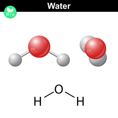 Illustration pour Water natural inorganic compound, 2d and 3d vector illustration of water molecular structure, isolated on white background, - image libre de droit