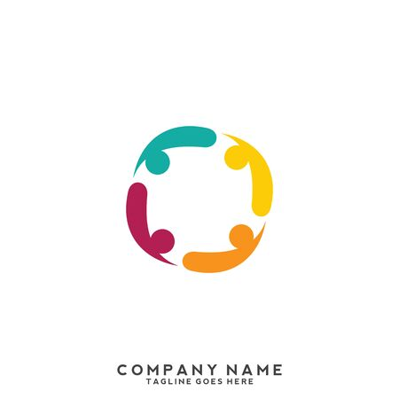 Illustration for People, community, creative hub, social connection icons and logo - Royalty Free Image