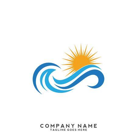 Illustration pour Water Wave symbol and icon Logo Template vector - image libre de droit