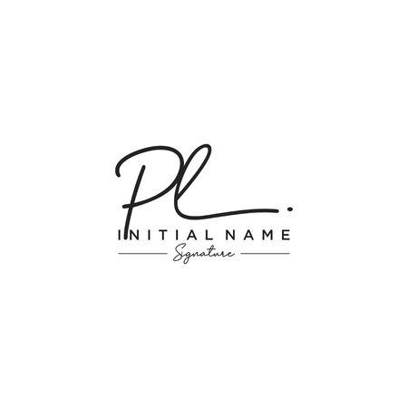 Letter PL Signature Logo Template Vector