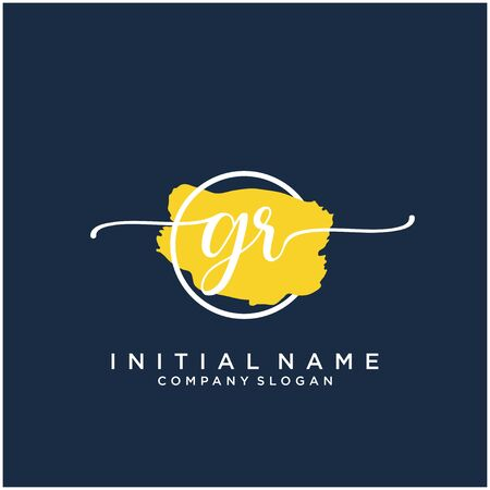 GR Initial handwriting logo design with brush circle