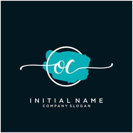 OC Initial handwriting logo design with brush circle